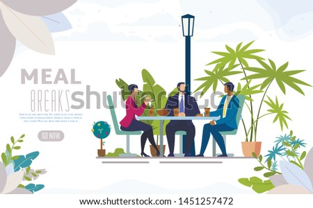 City Street Cafe, Restaurant with Outdoor Terrace Flat Vector Web Banner, Landing Page. Business Partners, Office Colleagues, Company Employees Lunching Together, Talking on Meal Break Illustration
