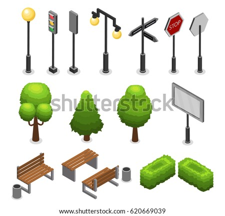 City street elements set with lamp lantern traffic light trees benches bushes billboard trash road signs isolated vector illustration