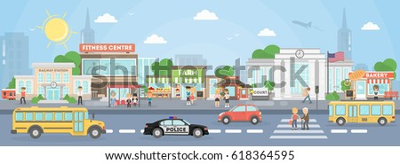 City street exterior. American city with court, fitness center and school bus, police car and stores. Foto stock ©