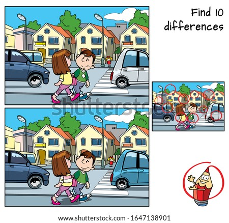 City street. Find 10 differences. Educational matching game for children. Cartoon vector illustration
