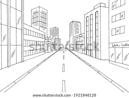 city street graphic black white