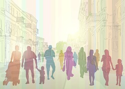 City street in the daytime and colorful silhouettes of people.