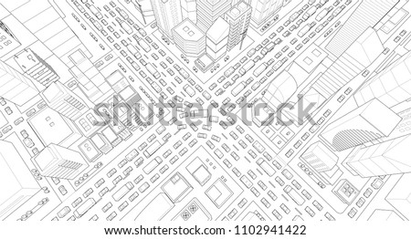 City street Intersection traffic jams road 3d drawing. Black lines outline contour style Very high detail projection view. A lot cars end buildings top view Vector illustration