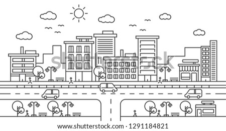 City Street Landscape View with Buildings, Roads, Trees, Cars and Walking People. line art