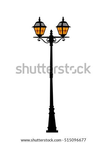 city street lantern on white