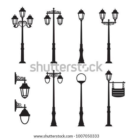 City street silhouette set