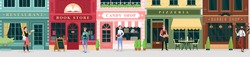 City street store, catering service set, retro storefront building facades with sellers