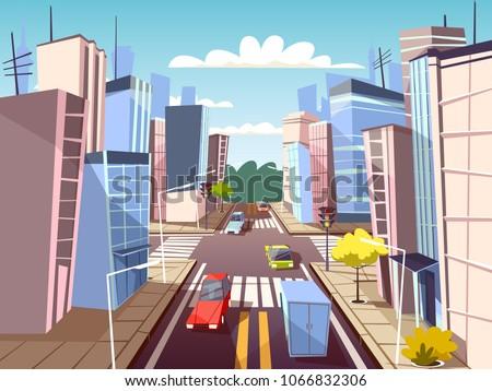 city street vector illustration
