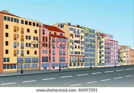 City street with buildings that can be used separately. Vector illustration.