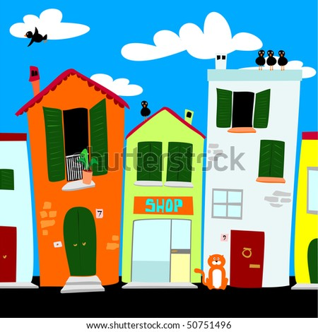 City street with colored houses, vector