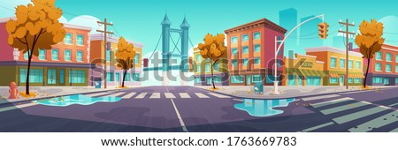 city street with crossroad in