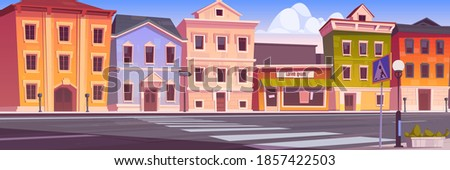 City street with houses, empty car road and pedestrian crosswalk. Vector cartoon background with cityscape, urban landscape with residential buildings, office and shops Сток-фото ©