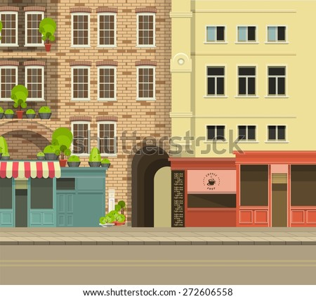 stock vector city street with tall buildings panoramic views and shops on the first floor 272606558 - Каталог — Фотообои «Улицы, переулки»