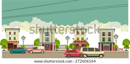 city street with tall buildings