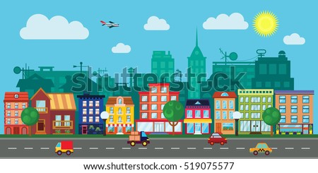 City street with urban buildings, houses, shops in flat style