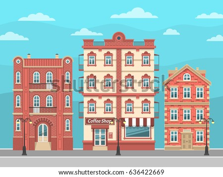 City street with vintage houses and lanterns. Vector illustration easy to rebuild.