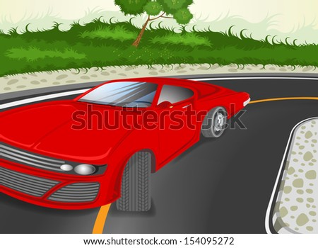 City streets with red sport car vector cartoon background
