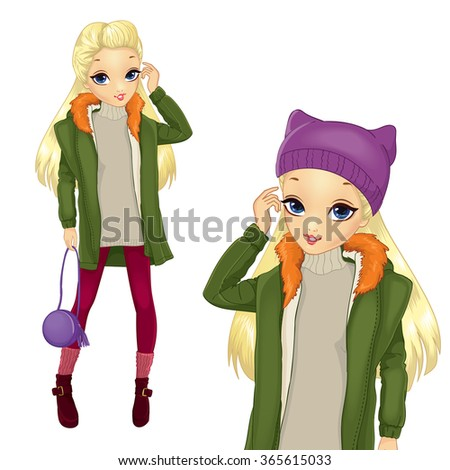 city style blonde girl in green
