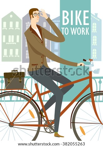 city style business man riding