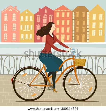 city style elegant lady riding