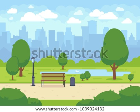 City summer park with green trees bench, walkway and lantern. Town and city park landscape nature. Cartoon vector illustration Сток-фото ©
