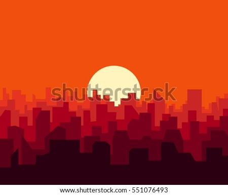 city sunset skyline urban