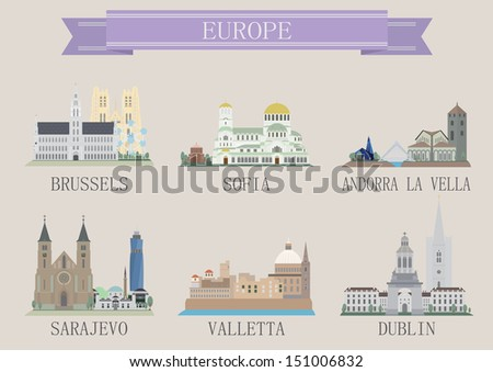 city symbol europe vector set