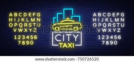 city taxi neon logos concept
