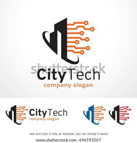 City Tech Logo Template Design Vector, Emblem, Design Concept, Creative Symbol, Icon