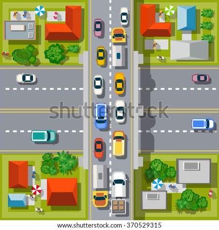 city top view with cars