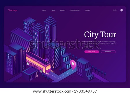 City tour banner. Travel and sightseeing by double decker bus in town. Vector landing page of group tourism and trip with isometric illustration of excursion bus on city street Stock photo ©