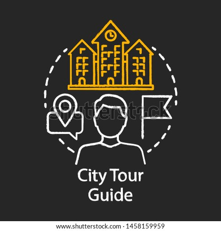 City tour guide chalk icon. Tours organisation. Travel and exploring attractions. Excursion, sightseeing. Touristic agency service. Trip advisor. Isolated vector chalkboard illustration