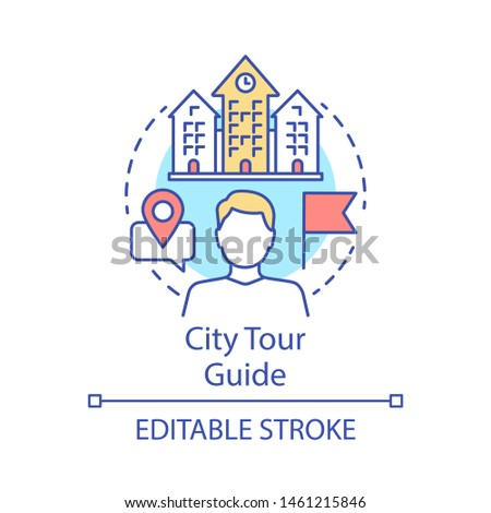 City tour guide concept icon. Tours organisation idea thin line illustration. Excursion, sightseeing. Touristic agency service. Trip advisor. Vector isolated outline drawing. Editable stroke