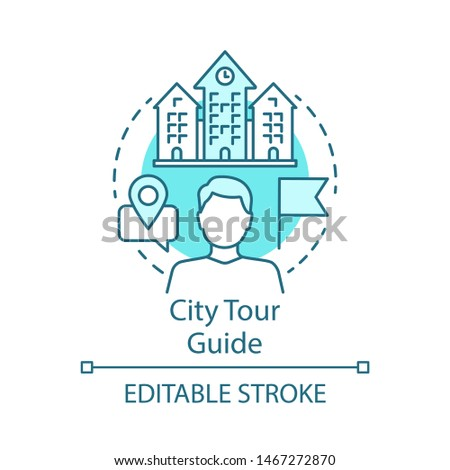 City tour guide concept icon. Tours organisation idea thin line illustration. Travel and exploring attractions. Excursion, sightseeing. Trip advisor. Vector isolated outline drawing. Editable stroke