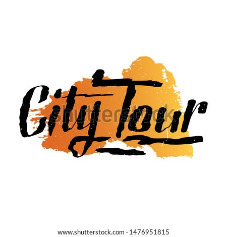 City Tours logo for travel company or agency. Free walking city tours or bus tours. Emblem design on textured background. Travel vector illustration. Souvenir print design for postcard, t-shirt.