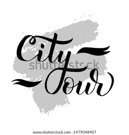 City Tours logo for travel company or agency. Travel vector illustration on textured background. Free walking city tours or bus tours. Emblem design, hand drawn calligraphic lettering.