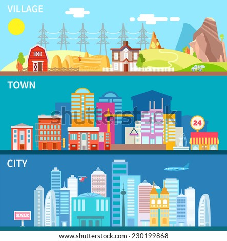 City, town and village landscapes in modern flat primitive style. Vector illustration in bright colors