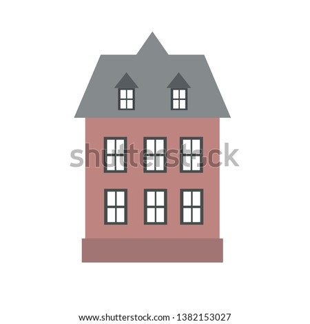 City town house vector facade face side street view city modern world house building cartoon architecture illustration. Cottage residential construction cityscape houses ストックフォト ©