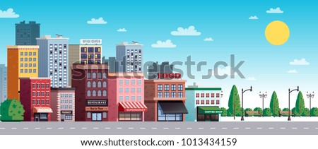 City town summer sunny day street view with colorful office buildings houses trees shrubs lanterns vector illustration