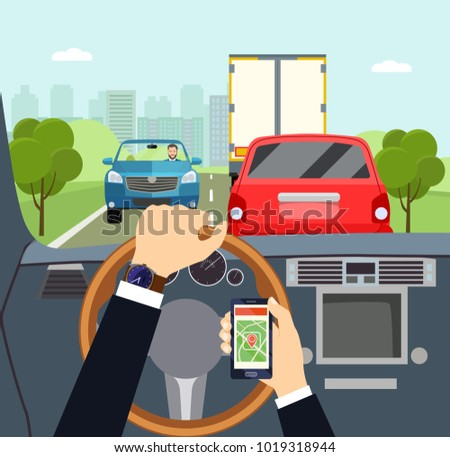 City traffic jam. Man hands of a driver on steering wheel of a car. Vector flat illustration.