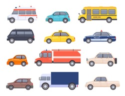 City transport cars. Urban car and vehicles, taxi, school bus, ambulance, fire engine, police and pickup truck. Flat automobile vector set. Isolated public cars for first aid transportation