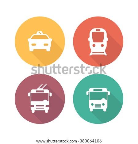 City transport icons, public transport pictograms, public transportation round flat icons, subway, taxi, bus, trolleybus symbols,