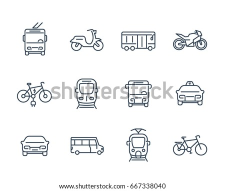 city transport icons  transit