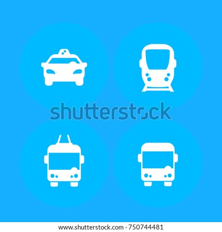 City transport, public transportation vector icons, taxi, subway, bus, trolleybus