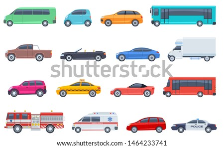 City transport set. Police car ambulance fire engine bus taxi cabriolet suv pickup vector flat isolated urban transportation. Car taxi and police, road vehicle illustration