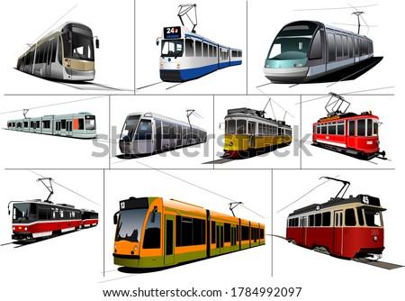 City transport. Ten kinds of Tram. Vintage and modern. Vector illustration Stock photo ©
