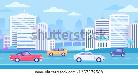 City transport, traffic on the street. Cityscape, buildings and cars