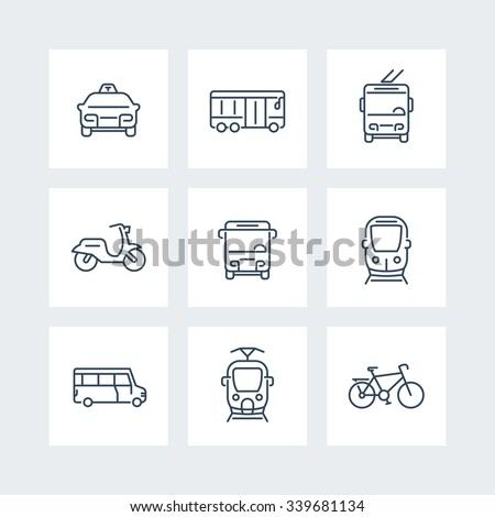 City transport, tram, train, bus, bike, taxi, trolleybus, public transport, line icons, vector illustration