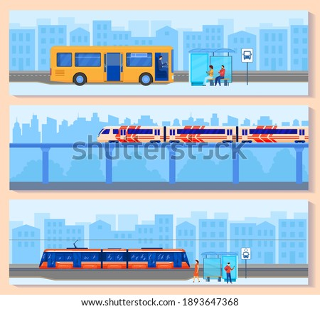 City transport vector illustration set. Cartoon flat cityscape panorama with downtown skyscraper buildings and modern public electric train subway or bus, passengers people transportation background stock photo