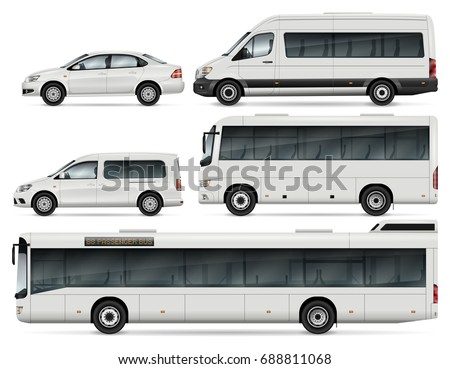 City transport vector mock-up for advertising, corporate identity. Isolated cars template on white. Vehicle branding mockup. All layers and groups well organized for easy editing and recolor.